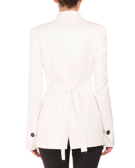Double-Breasted Jacquard Jacket, White