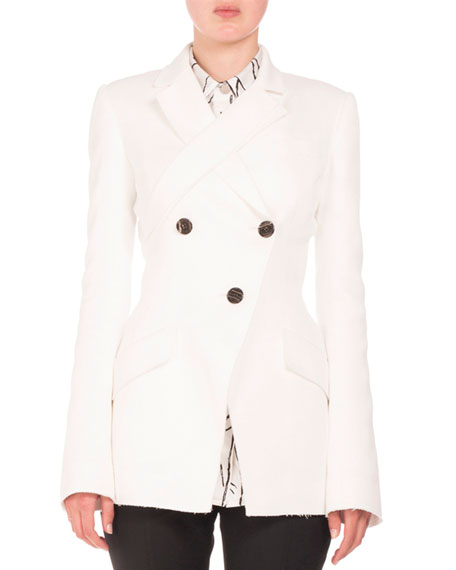 Proenza Schouler Double-Breasted Jacquard Jacket, White