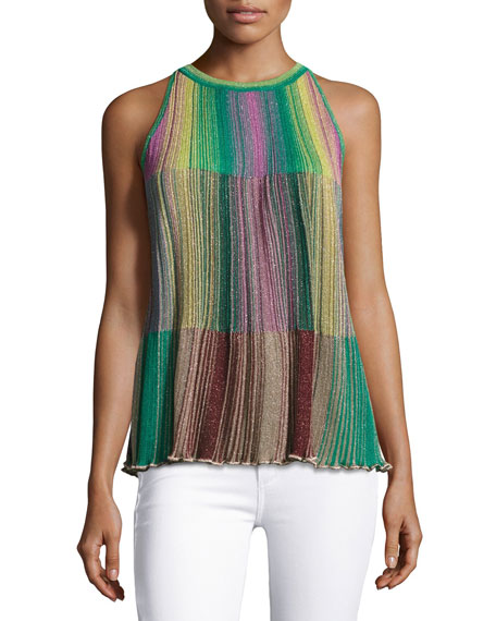 Sleeveless Metallic Striped Plissé Blouse, Multi