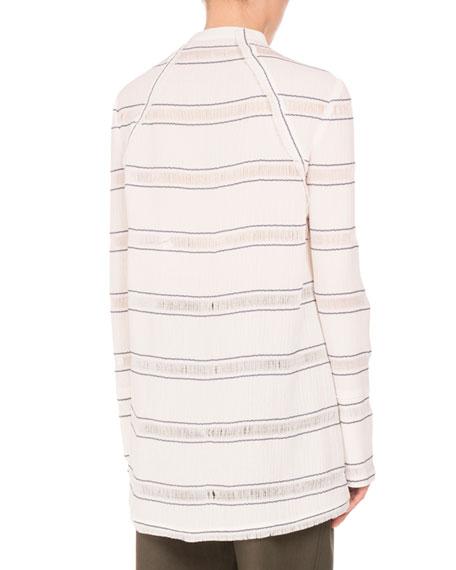 Striped Tie-Neck Side-Slit Tunic, White/Blue