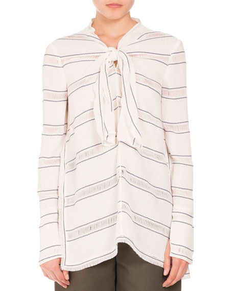Proenza Schouler Striped Tie-Neck Side-Slit Tunic, White/Blue