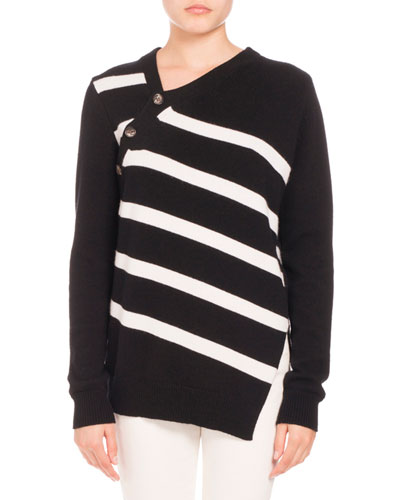 Striped Asymmetric Pullover Sweater, Black/White