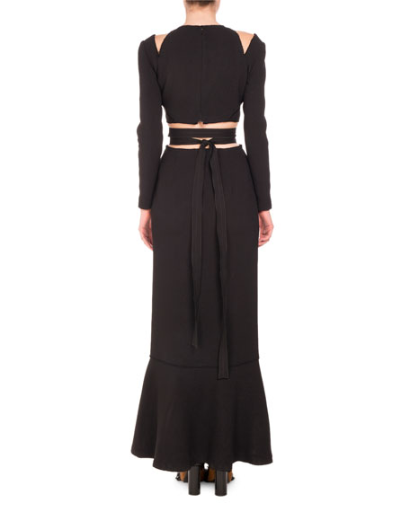 Cutout Waist & Shoulder Long-Sleeve Gown, Black
