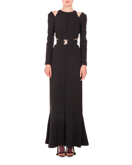 Cutout Waist & Shoulder Long-Sleeve Gown, Black