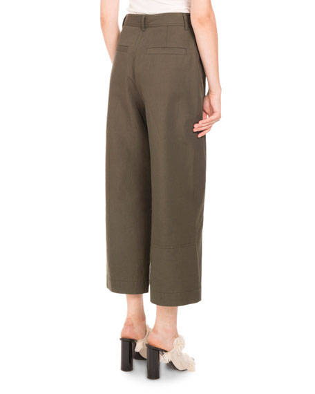 Button-Front Culotte Pants, Army Green