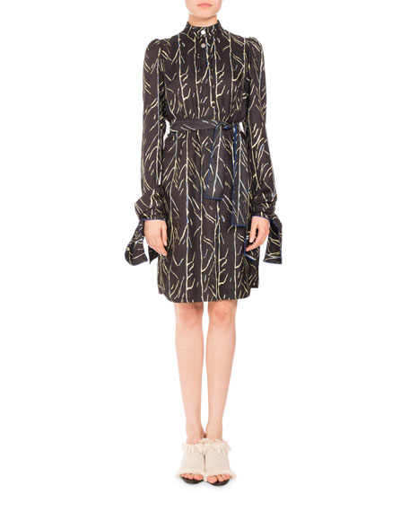 Vine-Print Belted Long-Sleeve Dress, Black