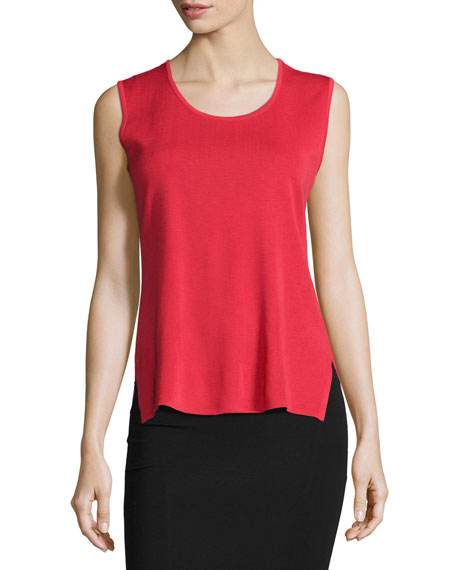 Misook Scoop-Neck Tank, Red