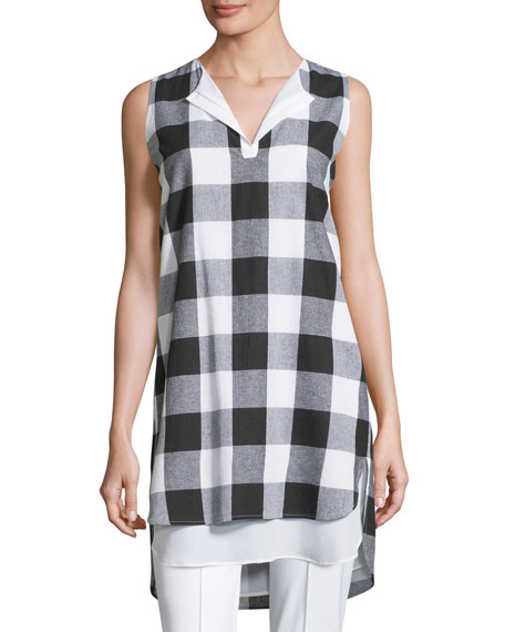 Misook Collection Sleeveless Gingham Layered Shirt, Petite