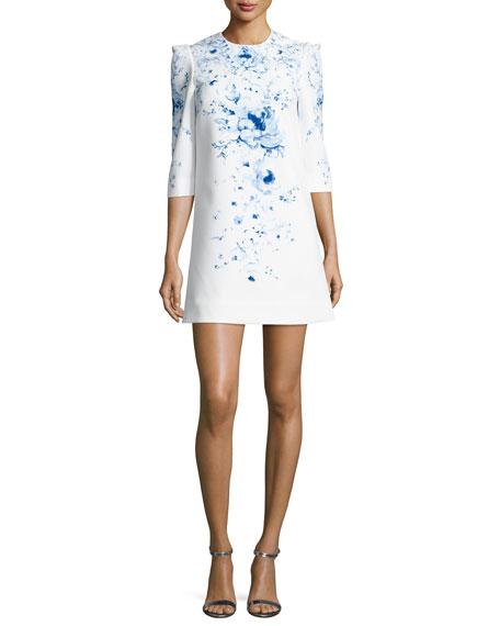 Mayflower Floral Ponte Mini Dress, White