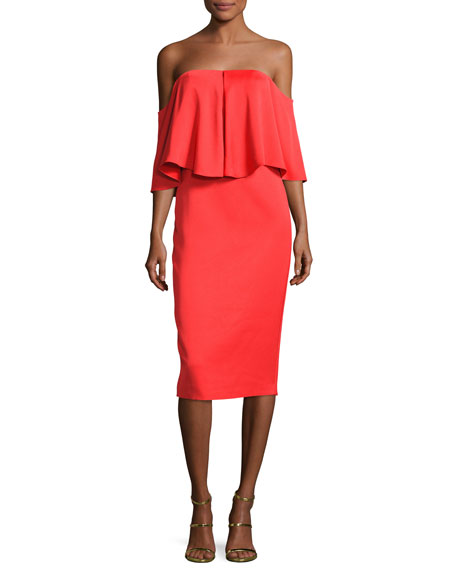 Off-the-Shoulder Popover Sheath Dress, Red