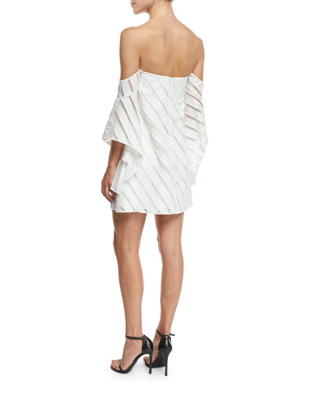 Statice Off-the-Shoulder Striped Mini Dress, White