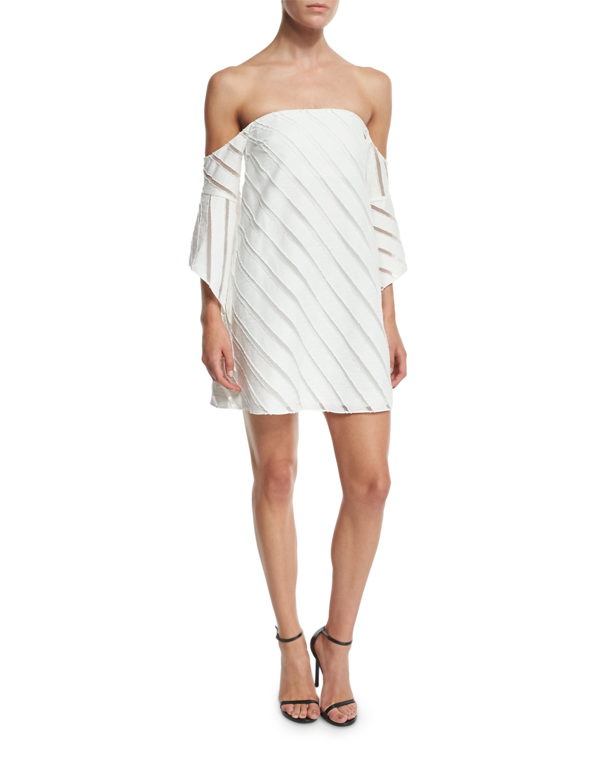 56ac30cb91bfd CAMILLA AND MARC Statice Off-the-Shoulder Striped Mini Dress, White ...