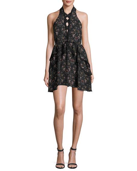 Sleeveless Floral Silk Mini Dress, Black/Petal