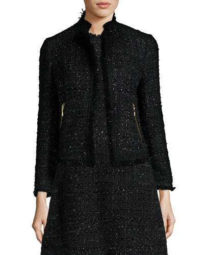 open-front shimmer tweed jacket, black