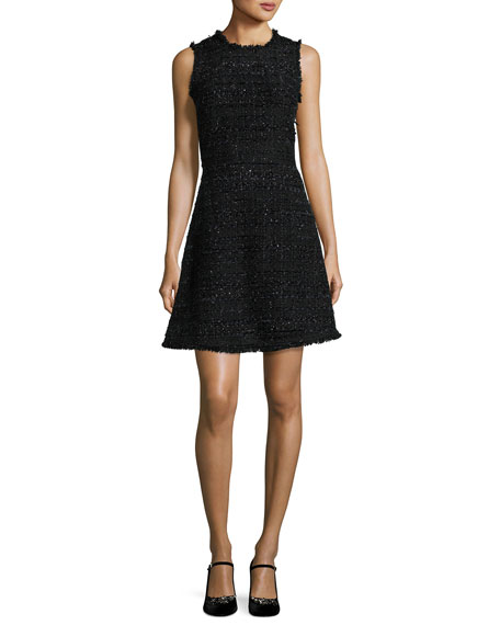 sleeveless shimmer tweed a-line dress, black