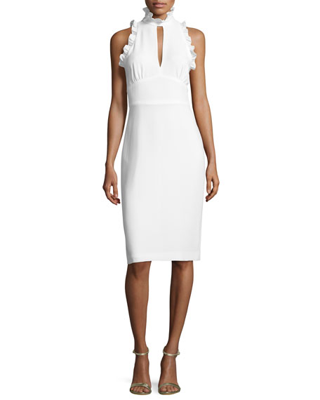 Shoshanna Sleeveless Crepe Mock-Neck Cocktail Dress, Ivory