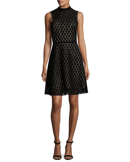 Sleeveless Velvet Polka-Dot Cocktail Dress, Black