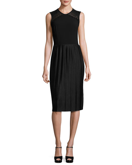 Shoshanna Sleeveless Pleated Cocktail Dress, Black