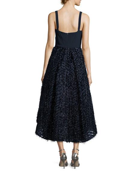 Adalyn Sleeveless Mixed-Media Cocktail Dress, Navy
