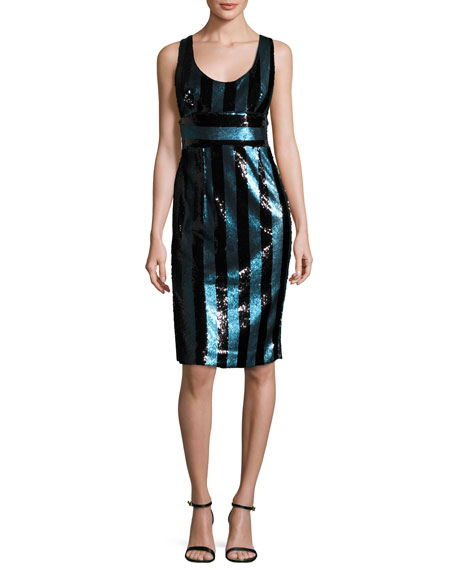 Milly Veronica Sleeveless Striped Sequin Cocktail Dress,