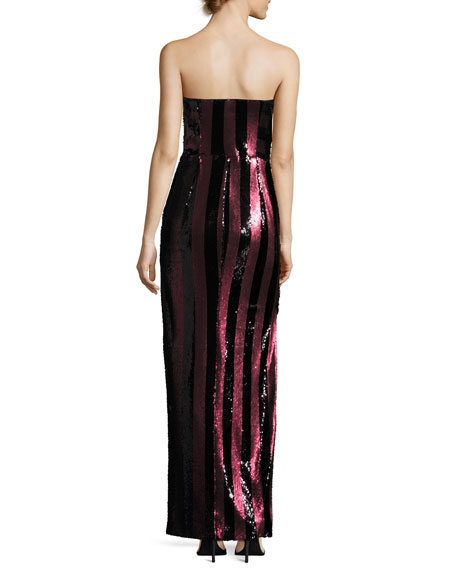 Carly Strapless Striped Sequin Column Gown, Red/Black