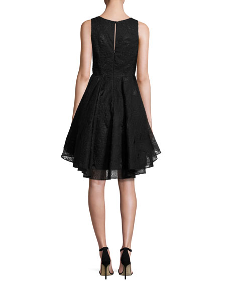 Cynthia Sleeveless Organza Fit-and-Flare Mini Dress, Black