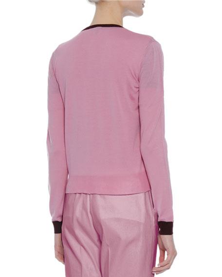 Colorblock Crewneck Cardigan, Pink/Burgundy Cheap
