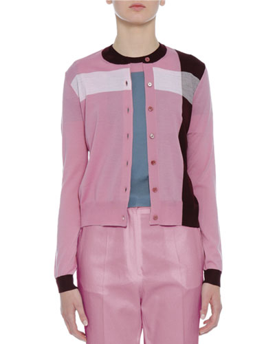 Colorblock Crewneck Cardigan, Pink/Burgundy