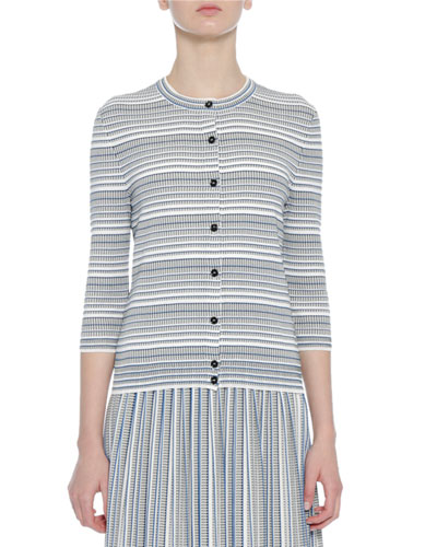 Knit Striped 3/4-Sleeve Cardigan, Blue/White