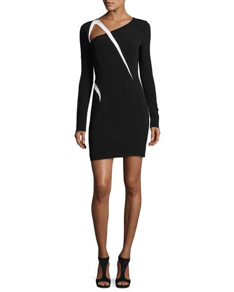 Thierry Mugler Asymmetric-Cutout Long-Sleeve Dress, Black/Off White