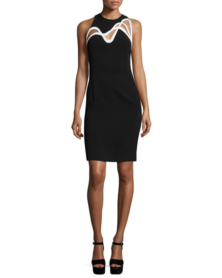 Thierry Mugler Swirl-Cutout Sleeveless Dress, Black/White