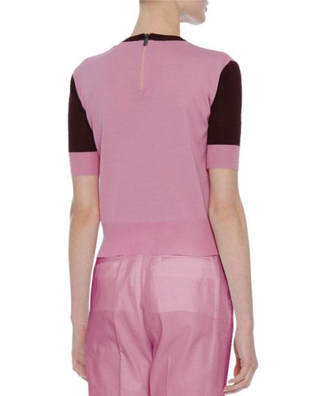 Colorblock Crewneck Short-Sleeve Sweater, Pink/Burgundy
