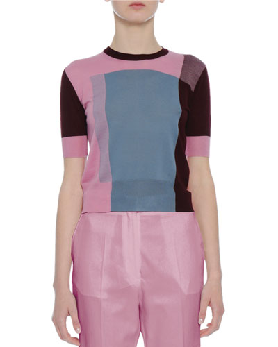 Colorblock Crewneck Short-Sleeve Sweater, Pink/Burgundy