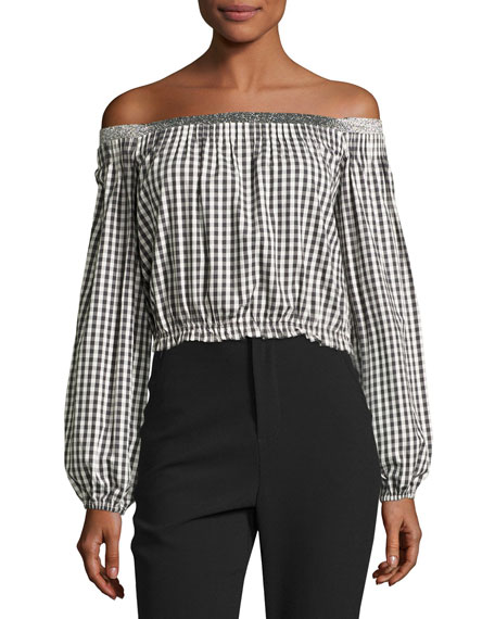 Gingham Off-the-Shoulder Pintuck Top, Black/White