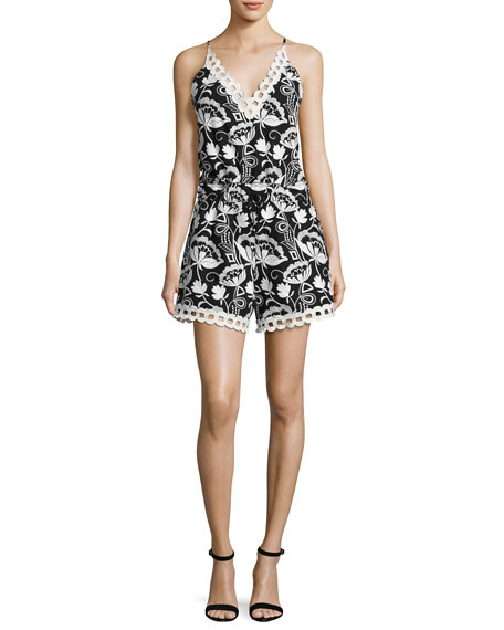 n/nicholas Eden Sleeveless Embroidered Floral Romper, Black/White