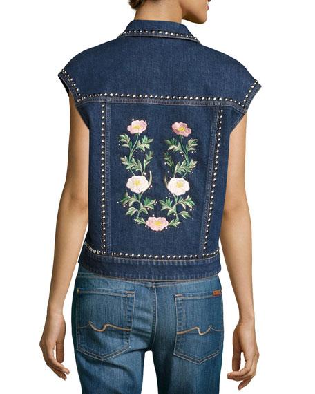 Embroidered Bird & Floral Studded Denim Vest, Blue