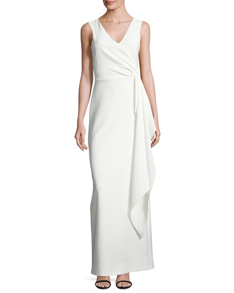 Sleeveless Crepe Column Gown, Ivory