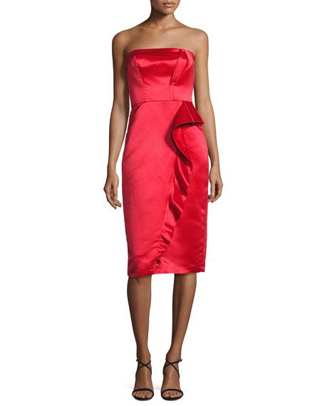 Strapless Ruffle-Trim Satin Cocktail Dress, Scarlet