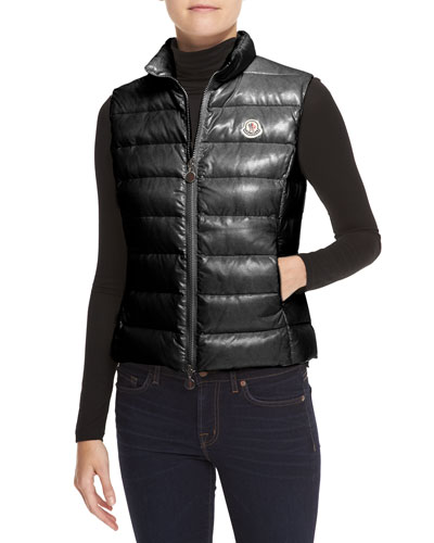 Ghany Fitted Zip Puffer Vest, Black