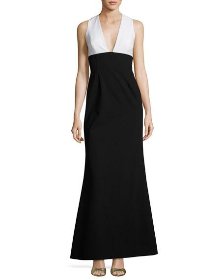 Sleeveless Two-Tone Crepe Gown, White/Black