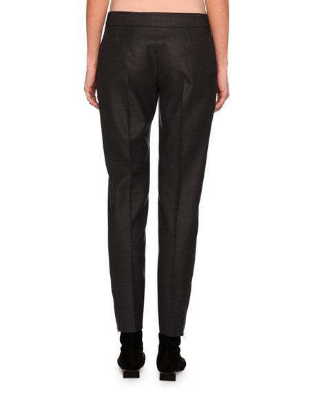 Vivan Skinny Wool Zip-Cuff Pants, Dark Gray