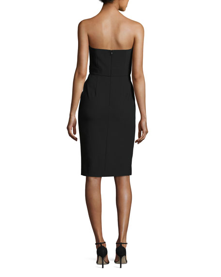 Peyton Strapless Pompom-Trim Cocktail Dress, Black