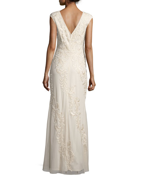 Sleeveless Embroidered Mesh Column Gown, Champagne