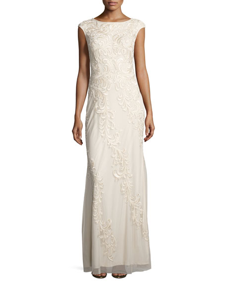 Aidan Mattox Sleeveless Embroidered Mesh Column Gown, Champagne