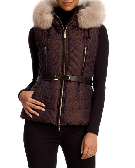 Aprés-Ski Fox-Trim Hooded Vest
