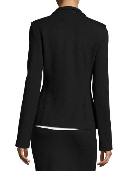 Milano Pique Knit 3-Button Jacket, Black