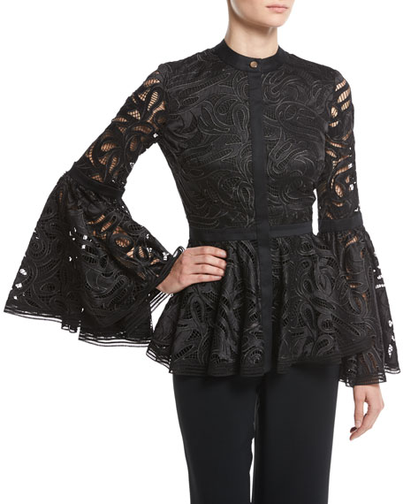 Jolene Guipure Lace Bell-Sleeve Top, Black