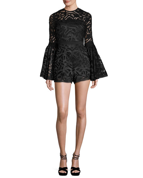 Lace Bell-Sleeve Romper, Black