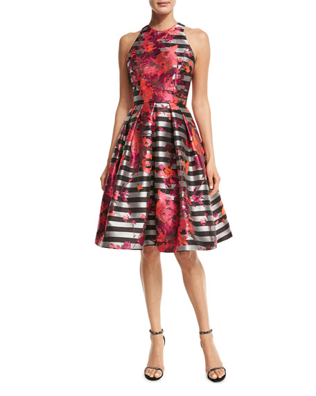Carmen Marc Valvo Sleeveless Striped Fit-and-Flare Dress,