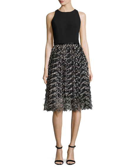 Carmen Marc Valvo Sleeveless Crepe & Embroidered Mesh